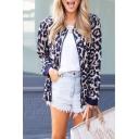 Women's Popular Classic Leopard Printed Long Sleeve Zip Up Blue Jacket