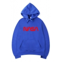 Unique Long Sleeve Letter NASA Printed Drawstring Hoodie for Couple