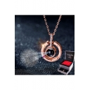 Tik Tok 100 Languages I LOVE YOU Projection on Round Onyx Pendant Loving Memory Collarbone Necklace