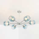 Branching LED Suspension Light Contemporary Blue Faded Glass 6 Light Chandelier Light