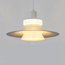 Third Gear Shallow Flared Drop Light Industrial Metal Pendant Light in White for Bedroom