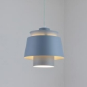 Double Shade Ceiling Light Ultra Modern Metal Accent Pendant Lamp in Gray for Living Room