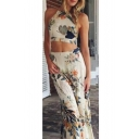 Elegant Halter Sleeveless Cropped Top Elastic Waist Floor Length Floral Printed Skirts Beige Co-ords
