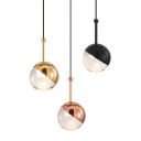 Electroplate Metal Globe Hanging Lights Post Modern Glass Mini LED Pendant Lamp in Black/Gold/Rose Gold