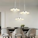 Petal Shape LED Ceiling Pendant Light Modern Light Fixture Acrylic Lampshade Hanging Fixture in Cream