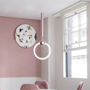Macaroon Style Loop LED Pendant Lamp Acrylic 1 Light Ceiling Pendant in Blue/Pink for Girls Bedroom