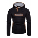 New Trendy Suede Patchwork Contrast Trimmed Multi-Way Zip Embellished Long Sleeve Slim Fitted Hoodie