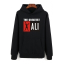 New Fashion Long Sleeve Letter THE GREATEST Boxing King Ali Pattern Pullover Casual Hoodie