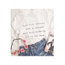 Sports Short Sleeve Round Neck Letter Printed White Tee