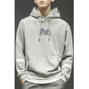 Teenagers Fashion Letter HIKE Print Patchwork Long Sleeve Loose Fitted Hoodie