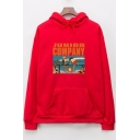 Casual Long Sleeve Letter JUNIOR COMPANY Cartoon Figure Printed Cozy Sports Drawstring Hoodie