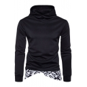 Chic Fashion Geometric Print Patchwork Hem Sports Fitted Long Sleeve Hoodie for Men