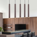 Brown Cylinder Down Light Modern Concise Aluminum Multi LED Suspended Lamp for Bar Counter