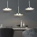 Acrylic Round Disc Hanging Light Modern Chic 3-Light Pendant Light for Exhibition Hall