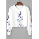 Hot Sale Round Neck Long Sleeve Cute Bunny Printed White Cropped Sweatshirt