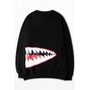 Trendy Fashion Shark Mouth Printed Crew Neck Long Sleeve Black Cotton Oversize Sweatshirt