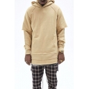 Guys Street Fashion Patchwork Layered Long Sleeve Zip-Embellished Split Side Plain Relaxed Longline Hoodie