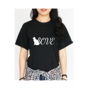 Unique Cartoon Cat Letter LOVE Print Crewneck Short Sleeve Relaxed T-Shirt