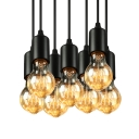 6-Light Edison Bulb LED Multi Light Pendant in Black for Dining Room Kitchen Bar Counter