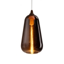 1 Light Gourd Pendant Lamp Minimalist Smoke Glass Hanging Light for Sitting Room Kitchen