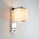 Chrome Finish Cylinder Wall Light Contemporary Fabric 1 Head Wall Sconce with Spotlight