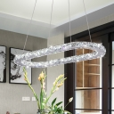 Crystal Ellipse Hanging Light Modern Chic LED Chandelier Lighting in Chrome for Restaurant