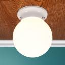 Single Head Orb Flush Mount Lighting Modern Design Milky Glass Ceiling Light for Hallway