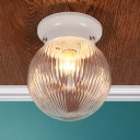 1 Light Ball Shade Mount Fixture Modern Fashion Ribbed Glass Flush Light Fixtures in White