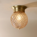 Brass Finish Ball Flush Mount Lighting Contemporary Prismatic Glass 1 Bulb Flush Light Fixtures