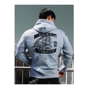 Men's Cool Outdoor Bodybuilding Sports Skull Printed Fitted Pullover Cotton Hoodie