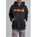 Men's New Trendy Letter Printed Oversized Vertical Pullover Cotton Hoodie