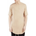 Men's Basic Plain Crewneck Short Sleeve Round Hem Cotton Fitted Long T-Shirt