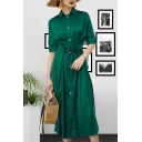 Women's Vintage Green Lapel Collar Lace-Up Gathered Waist Plain Midi A-Line Shirt Dress