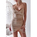 Women's Sexy Silk Bow-Tied Open Back Simple Plain Mini Bodycon Slip Dress