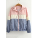 Stylish Colorblock Long Sleeve Hooded Zip Up Sports Track Jacket for Girls
