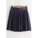 Cool Letter CHOCK Heart Embroidered Elastic Waist Mini A-Line Pleated Skirt