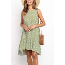Women's Fashion Polka Dot Printed Round Neck Sleeveless Ruffle Hem Midi Swing Dress