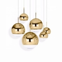 Mirror Ball Pendant Light Modern Fashion Glass Single Light Accent Hanging Lamp in Gold