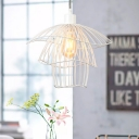 Metal Cage Lighting Fixture Designers Style Steel 1 Light Pendant Lamp in White for Porch