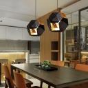 Polygon LED Lighting Fixture Designers Style Metal Single Head Pendant Light in Black
