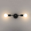 2 Bulbs Dumbbell Wall Lamp Designers Style Metal Wall Light Sconce in Black for Corridor