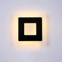 Square LED Wall Sconce Contemporary Acrylic Single Head Wall Lamp in Black for Staircase