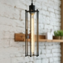 Industrial Vertical Wire Guard Hanging Lamp Steel Lighting Fixture for Restaurant Cafe