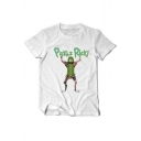 Funny Cartoon Letter PICKLE RICK Printed Round Neck Short Sleeve Casual Graphic Tee