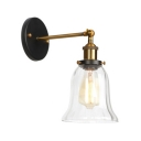 Single Light Bell Wall Lamp Industrial Clear Glass Sconce Light in Brass Finish for Staircase