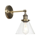 Single Light Cone Lighting Fixture Simple Industrial Glass Shade Wall Mount Fixture in Bronze