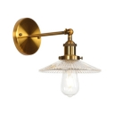 Shallow Round Shade Wall Sconce Industrial Ribbed Glass Single Head Wall Lighting in Brass