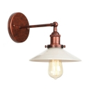 Opal Glass Flared Shade Wall Lamp Industrial 1 Light Wall Light Fixture in Rust Finish for Staircase