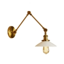 Milky Glass Flared Sconce Light Vintage Retro Adjustable 1 Bulb Wall Mount Light in Brass for Study Room
