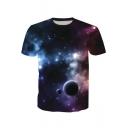 Fancy 3D Purple Galaxy Print Short Sleeve Loose Casual T-Shirt